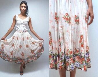 Indian GAUZE Skirt GYPSY Skirt BOHO Skirt Floral Skirt Hippie Skirt Sheer Skirt Midi Skirt Festival Skirt High Waisted Skirt 90s Skirt