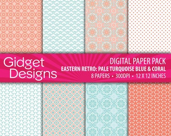 Pale Turquoise Blue and Coral Digital Paper Pack Quatrefoil Japanese Eastern Moroccan Patterns