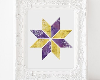 Gold Abstract Art - Abstract Geometric Art - Purple and Gold - Gold Geometric Art - Gold Foil - Geometric Watercolor Art - Office Decor