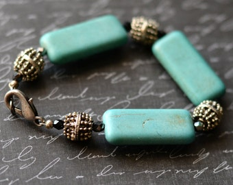 Turquoise Bracelet, Green Bracelet, Turquoise and Silver, Geometric Jewelry, Blue Green Jewelry, Magnesite, SRAJD