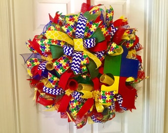 Autism wreath, round wreath, decomesh wreath, primary colors wreath , red, blue, and yellow wreath