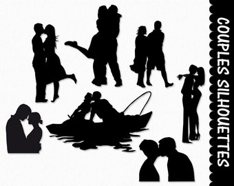 Couples in Love Clip Art Pairs Clipart Graphic Scrapbook Silhouettes Valentines Day Digital Download Transparent PNG JPG Commercial Use