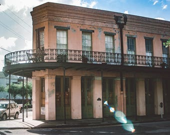 New Orleans Film Photography French Quarter Print Pink Building French Architecture Travel Photography Brick House Loft Decor Modern