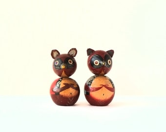 kokeshi doll vintage a couple of raccoons  5cms/2inches