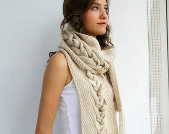 Beige Wool Special Design By DenizGunes Knit  Scarf Perfect Gift Under 75 For Women For Girl Friend Christmas Gift
