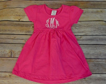 Monogram dress, Pink baby dress, personalized baby dress, monogram baby girl outfit, baby shower gift, flower girl dress, monogram dress