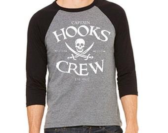 Disney Baseball Shirt Captain Hooks Crew Shirt Peter Pan Shirt Captain Hook Shirt Disneyland Shirt Disney World Shirt Magic Kingdom shirt
