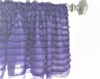 Purple Ruffled Curtain Valance - Purple Ruffle Window Treatment, Baby Girls Nursery - Purple Valance - Grape Ruffle Valance, Kitchen Valance