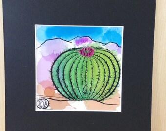 miniature 4x4 art print -barrel cactus