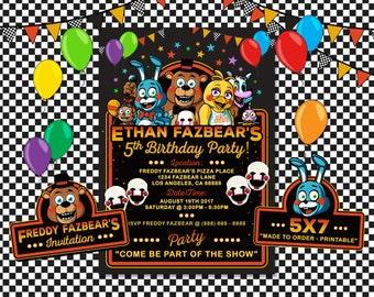 Five Nights at Freddy's Invitation, Five Nights at Freddy's Birthday, FNAT Invitation, FNAT Birthday