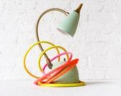Vintage Lamp - Retro Mint Green Gooseneck w/ Ombre Citrus Cloth Color Cord - Sconce or Table Light OOAK
