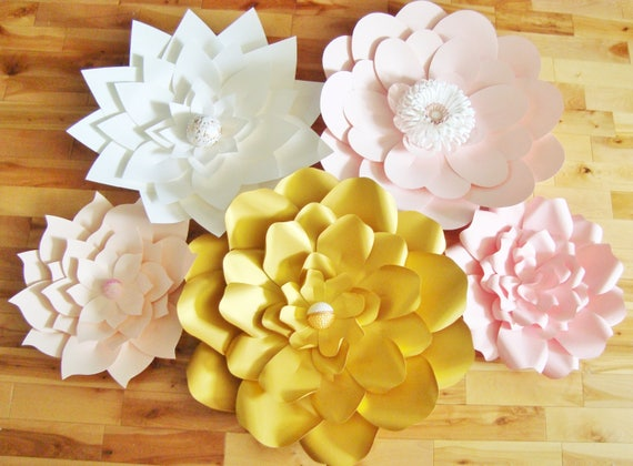 Set of 5 Large Paper Flowers Paper Flower Wall Paper