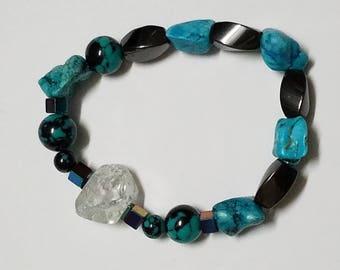 Healing braselet, Crystal,hematit,turquoise healing braselet, yoga braselet,positive energy,relaxing braselet,gift for her,gift for him