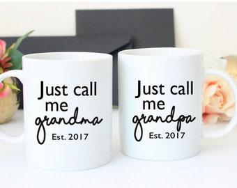 Grandma and Grandpa Mug Set   Grandparent Mugs   Reveal Gift for Parents   Just call me Grandpa Gift   Custom Gift For Grandparents   Custom