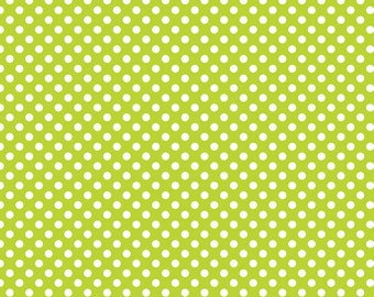 Riley Blake Small Dots, White on Lime, fabric by the yard