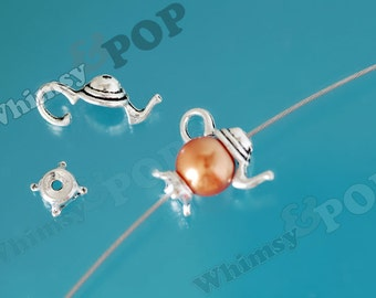 3D Bead Cap Set Tibetan Silver Color Teapot Bead Findings, Teapot Charm, Teapot Bead Caps, 21mm x 11mm (R9-055)