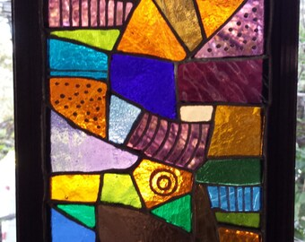 Abstract 13 Lead Free Stained Glass Window Panel