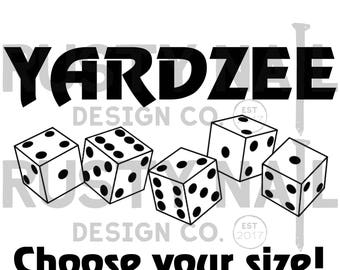 Yardzee, yardzee decal, yardzee bucket decal, yardzee bucket sticker, vinyl yardzee decal, Choose Your Size!