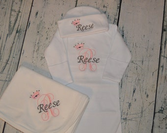 Monogrammed Newborn Gown Blanket Hat Set - Princess Coming Home Outfit  Infant set  - Personalized