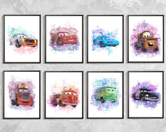 Cars Print Set Cars Watercolor Art Cars Wall Decor Cars Birthday Party Lightning McQueen Tow Mater Mack Truck Red Fire The King Boys Room