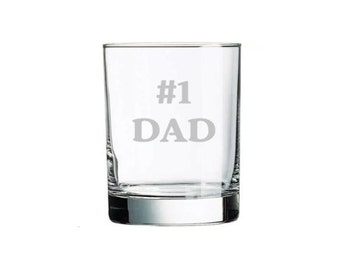Fathers Day Dad Custom Etched #1 DAD Whiskey Rocks Glass, Engraved Gifts For Dad, Brother, Grandpa.