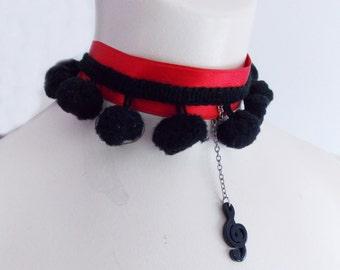 red black pom pom choker necklace/ rockabilly necklace
