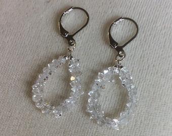 Herkimer Diamond hoop earrings with.925 silver