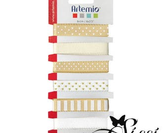 LOT 6M ARTEMIO SCRAPBOOKING HEART GINGHAM STAR FEATURES BEIGE WHITE POLKA DOT RIBBON