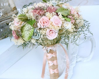 Pink flowers small wedding bouquet dusty rose green dusty pink wedding bouquet dusty rose green bridal bouquet wedding flowers sola bouquet dried flower lace bouquet bridal flowers mightylinksfo