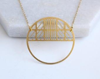 Art Deco Circle Necklace | ATL-N-187