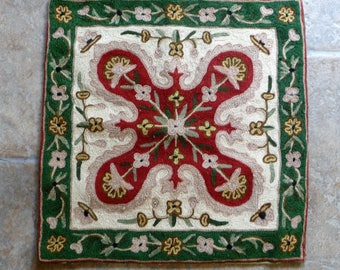 """Vintage Crewel Work Embroidered Cushion Cover 40cms or 16"""" sq."""