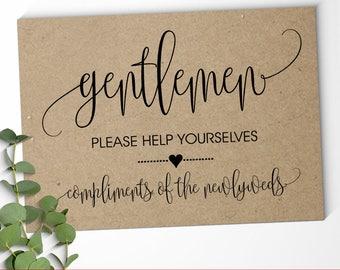 Gentlemen Bathroom Sign rustic wedding signs reception sign hospitality basket printable sign Instant download SG02 D101