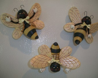 ceramic refrigerator magnets  bee refrigerator magnets,set of 3