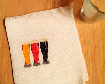 Bar Towel BEER / CICERONE / BREWER theme, Embroidered single