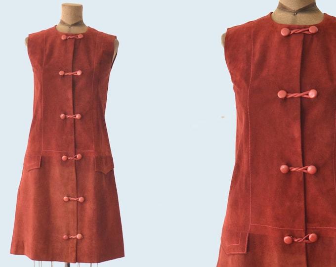 1960s Mod Burgundy Suede Dress size S