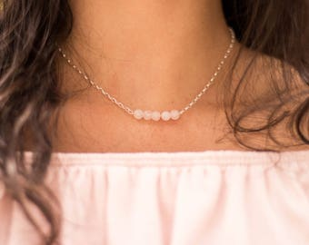 Rose Quartz Gemstone Chain Necklace - pink beaded necklace