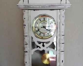 Antique Wall Clock,Vintage Wall Clock,Unique wall clock,Horse regulator clock,Dutch clock,white clock,pendulum clock,mechanical clock