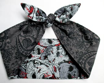 Reversible Zombies print blood splatter monsters lace pinup goth Head scarf Headband Pinup Psychobilly Rockabilly Horror Monsters Bloody Bow
