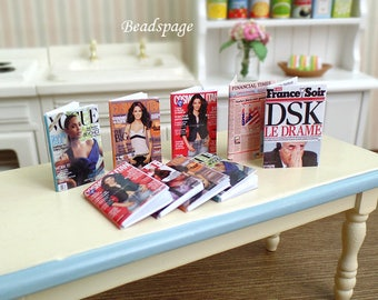1:12 Scale Dollhouse Miniature Fashion Magazines Newspaper, Roombox, Sylvanian Families, DIY Craft Scrapbooking