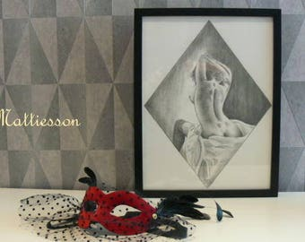 Amany on the bed half nude drawing in A3 by Mattiesson