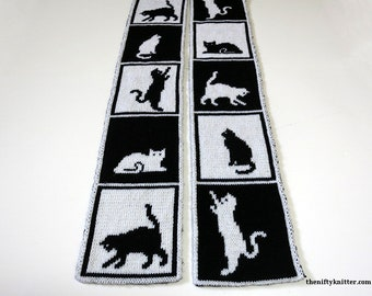 Knitting Pattern - Cats in Boxes Scarf