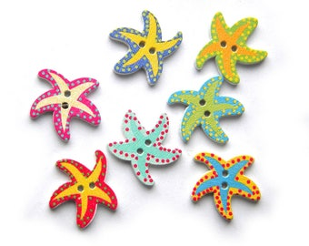 10 Assorted Starfish Wooden Buttons