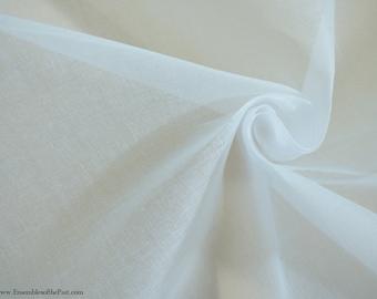 "Italian Organdy Fabric - Cotton Organdy - White Italian Organdy - White Fabric - Stiff Fabric - by the yard - 44"" Wide - EP Cotton #219"