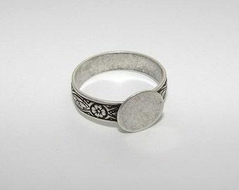 Ring Blanks - 10 Large Size Antiqued Silver Ox FLORAL Style 3 Glue On Pad Adjustable Ring Blanks, Hidden Adjustment, Top Adjustable