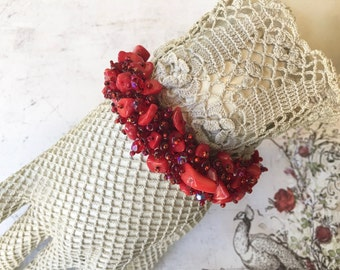 Pretty Beaded Bracelet with Crimson Beads and Coral Chunks