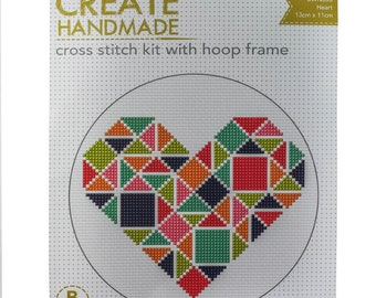 Cross Stitch Kit with Hoop - Heart