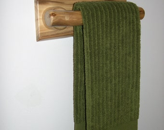 Towel Rack 11- in (Clear Finish) - Bathroom Accessory - Hand Towel Rack - Bathroom Towel Holder or Kitchen Towel Holder - Log Cabin Decor