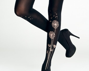 Black dandelion tights in S-4XL sizes / super smooth opaque tights / gift for her / plus size tights