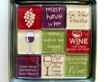 Wine Refrigerator Magnets, Wine Fridge Magnets, Wine Theme Gift, Wine Lover Gift, Wine Tasting, Wine Decor, Wine Decorations. Wine Gift