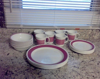 Corelle Corning Dinnerware Made in USA Service for 6 White and Pink kitchen cooking serving dishes & Dishes made in usa | Etsy